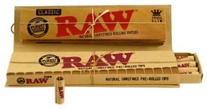 raw classic king size + pre-rolled tips